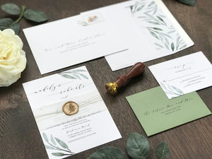 Greenery Wedding Invitation with Vellum Wax Seal Wrap