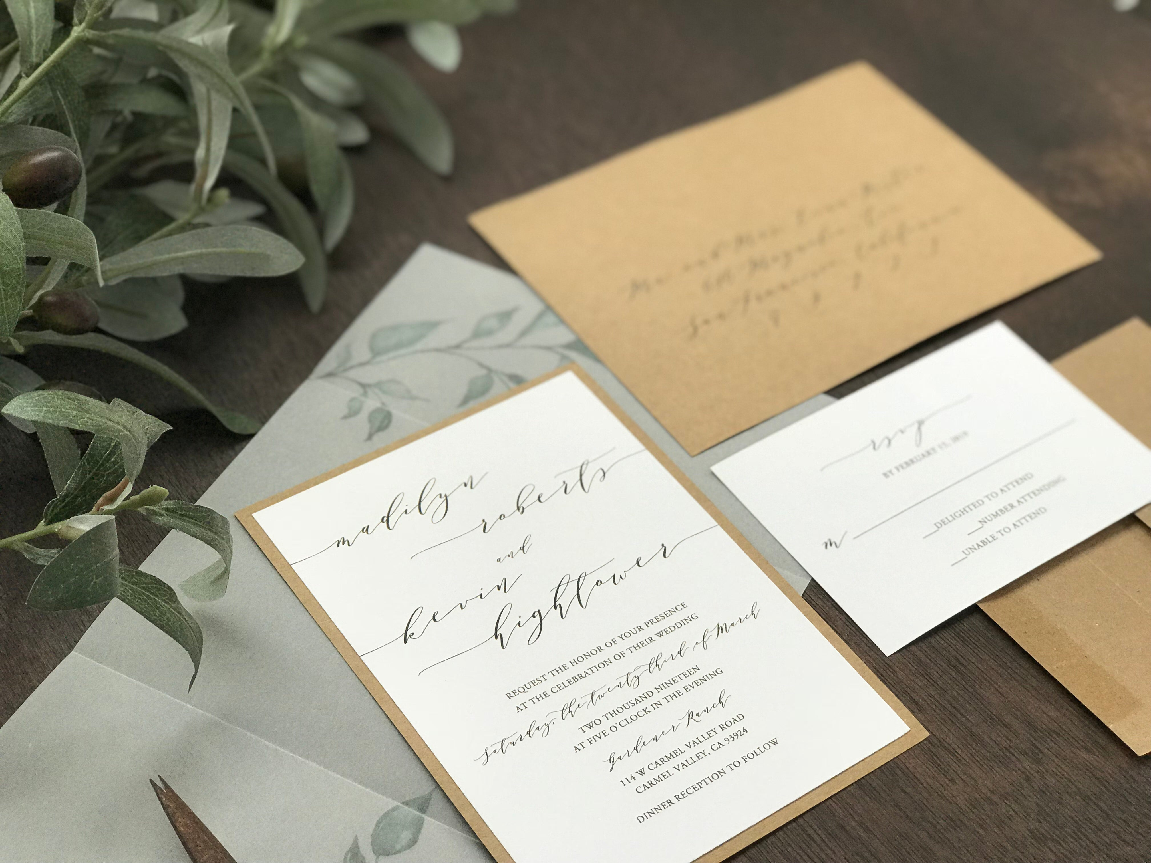 Vellum Wedding Invitation with Greenery and thread
