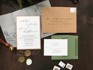 Wax Seal Vellum Wedding Invitation with Greenery and Thread