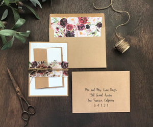 Marsala Burgundy Floral Wedding Invitation with vellum belly band and twine