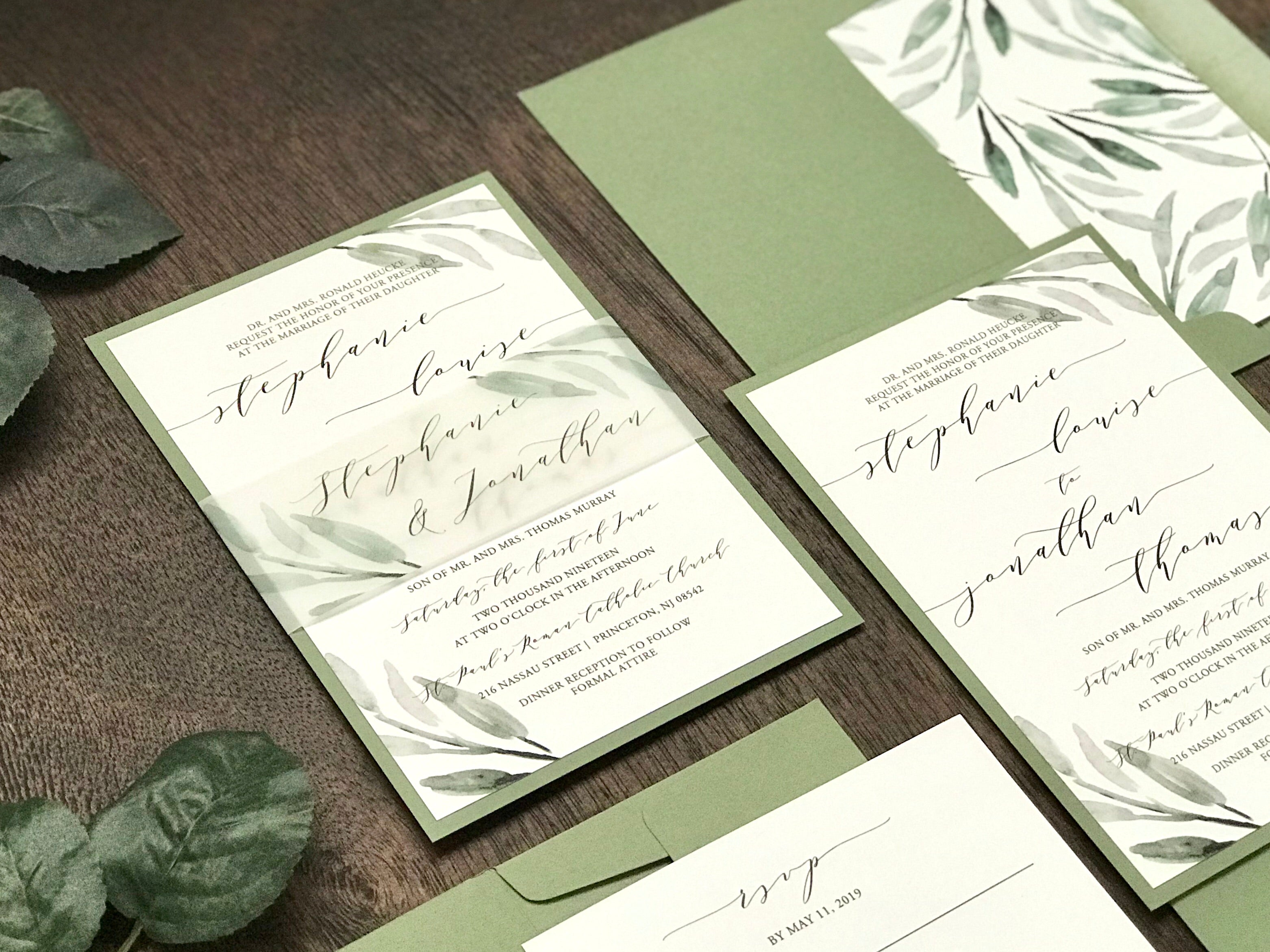 Greenery Wedding Invitation with Vellum belly band