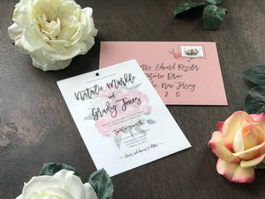 Dusty Rose Wedding Invitation with Vellum Cover