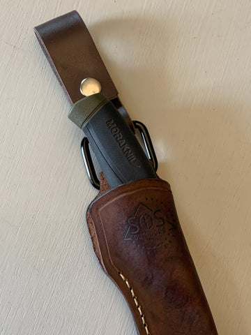 Custom Leather Mora Sheath-Dark Brown