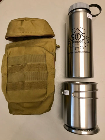 Stainless Steel bottle, cup & lid, MOLLE pouch nesting kit