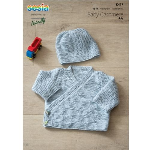 Naturally, Sesia Baby Cashmere, 4 ply, Kids Jacket & Hat, Pattern K417