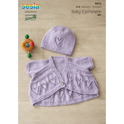 Naturally, Sesia Baby Cashmere 4 Ply, Kids Jacket & Hat Pattern, K416