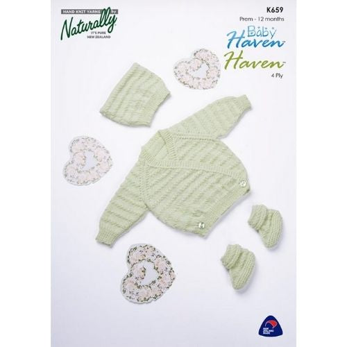 Naturally Baby Haven, 4 ply, Kids Sweater, Hat & Booties Pattern, K659