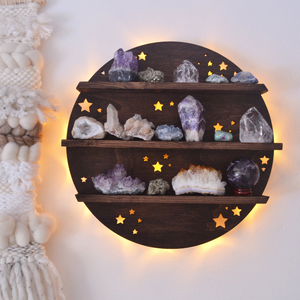 Full Moon Crystal Shelf Wall Lamp - coppermoonboutique