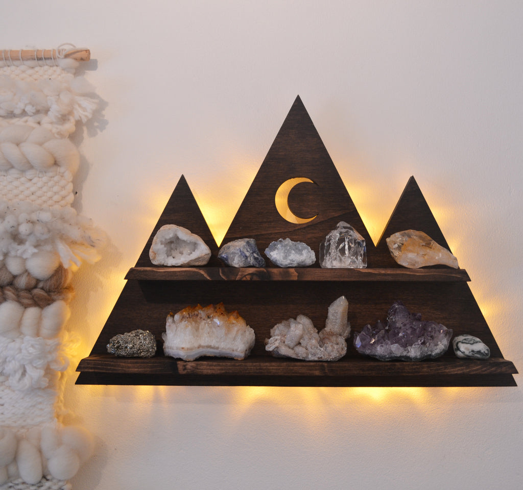 Mountain Crystal Shelf and Wall Lamp - coppermoonboutique