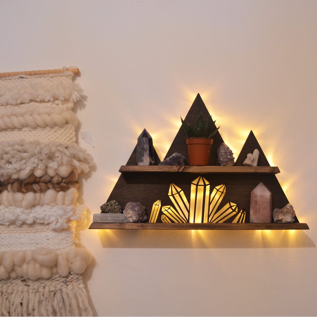 Crystal cluster mountain crystal display shelf and Wall light - coppermoonboutique