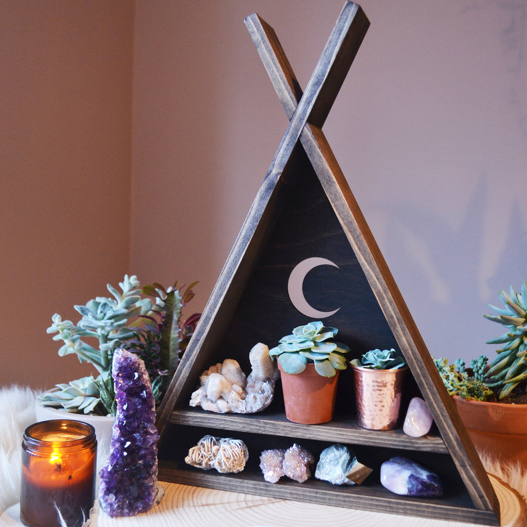 Tee Pee Moon Triangle Crystal Shelf - coppermoonboutique