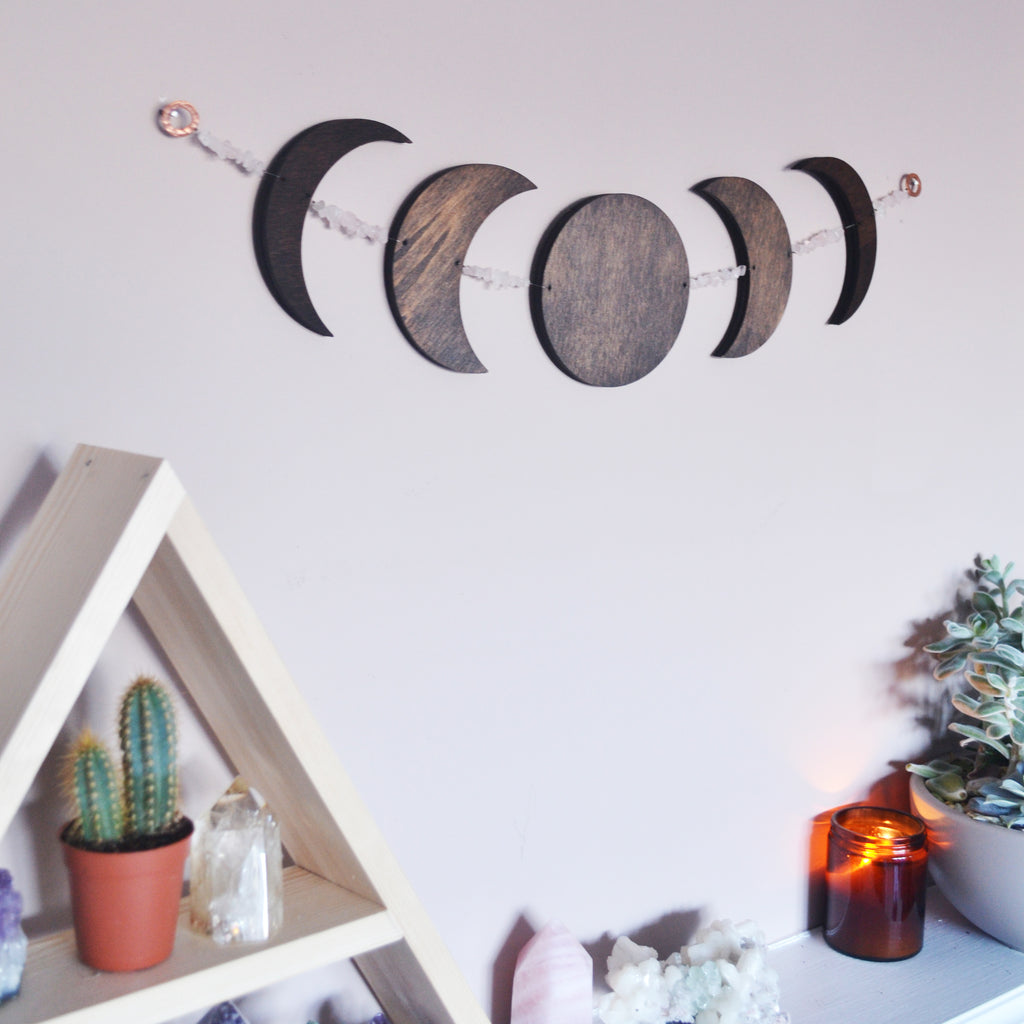 Horizontal Oak stained Moonphase Wall Hanging - coppermoonboutique
