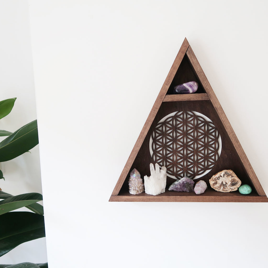 Flower Of Life Triangle Shelf - coppermoonboutique