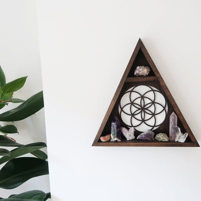 Seed Of Life crystal display shelf - coppermoonboutique