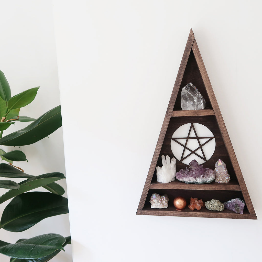 Pentagram Triangle Crystal Shelf - coppermoonboutique