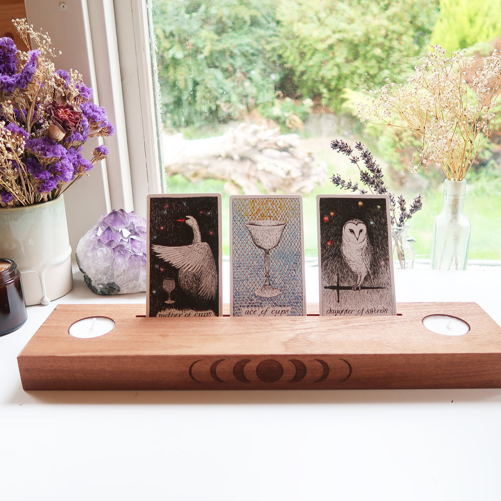 Engraved Moonphase Altar Card Stand with Soy Candles - coppermoonboutique