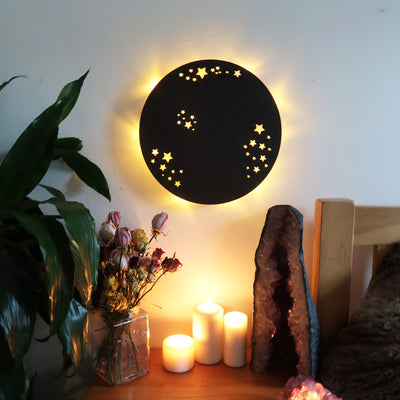 Full Moon Wooden Wall Lamp - coppermoonboutique