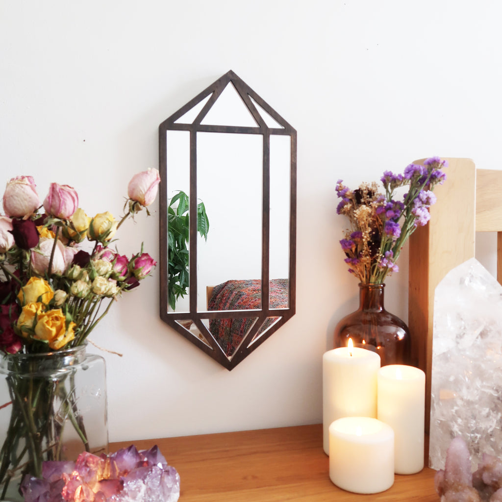 Crystal Wooden Wall Mirror - coppermoonboutique