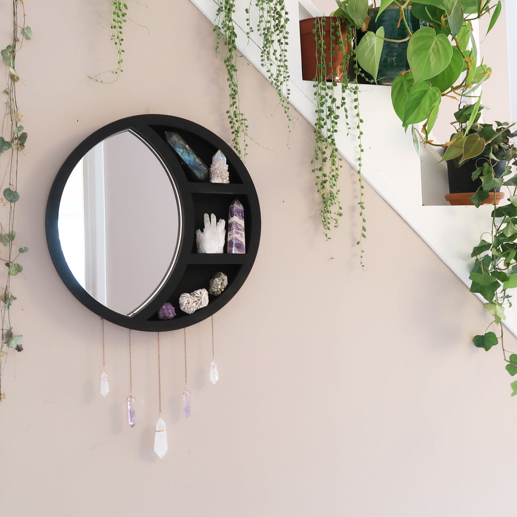 Crescent Moon Mirror Wooden Crystal Shelf - coppermoonboutique