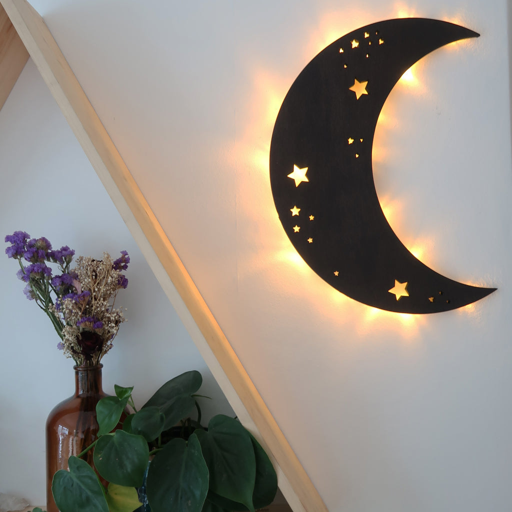 Crescent Moon Wooden Wall Lamp - coppermoonboutique