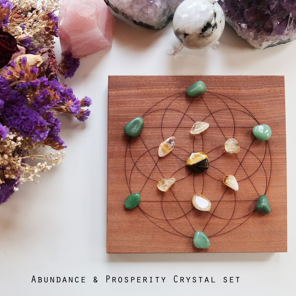 Abundance & Prosperity Crystal Grid - coppermoonboutique