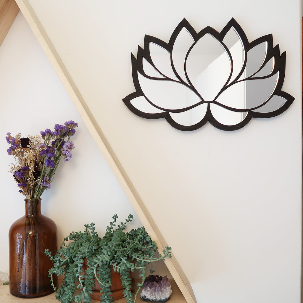 Lotus Wooden Mirror - coppermoonboutique