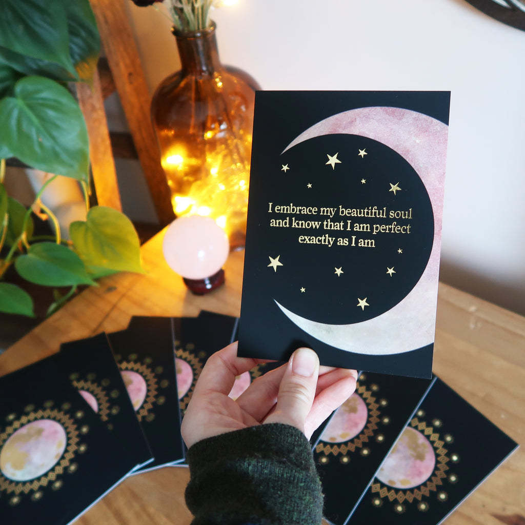 The Magic of The Moon Gold foiled Affirmation Cards - coppermoonboutique
