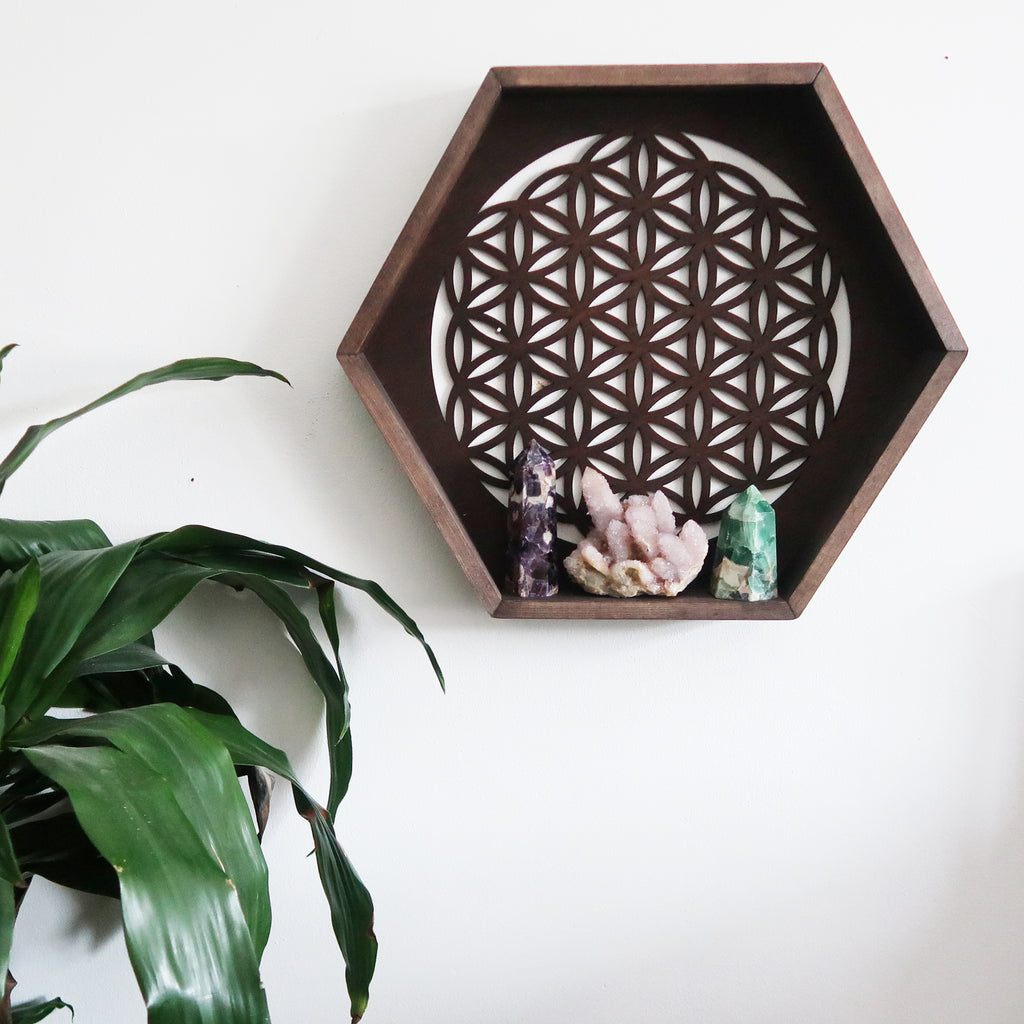 Flower Of Life Hexagon Crystal Shelf - coppermoonboutique