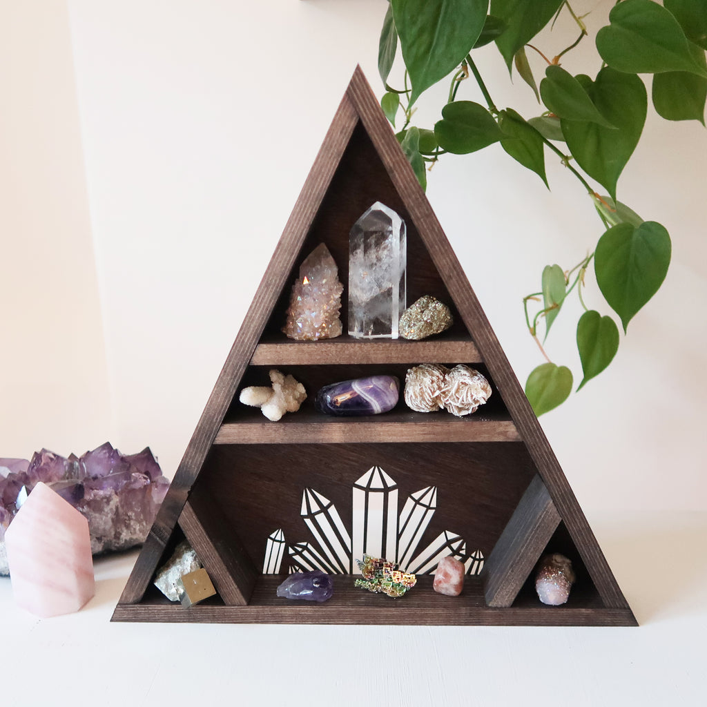 Crystal Cluster Triangle Shelf - coppermoonboutique