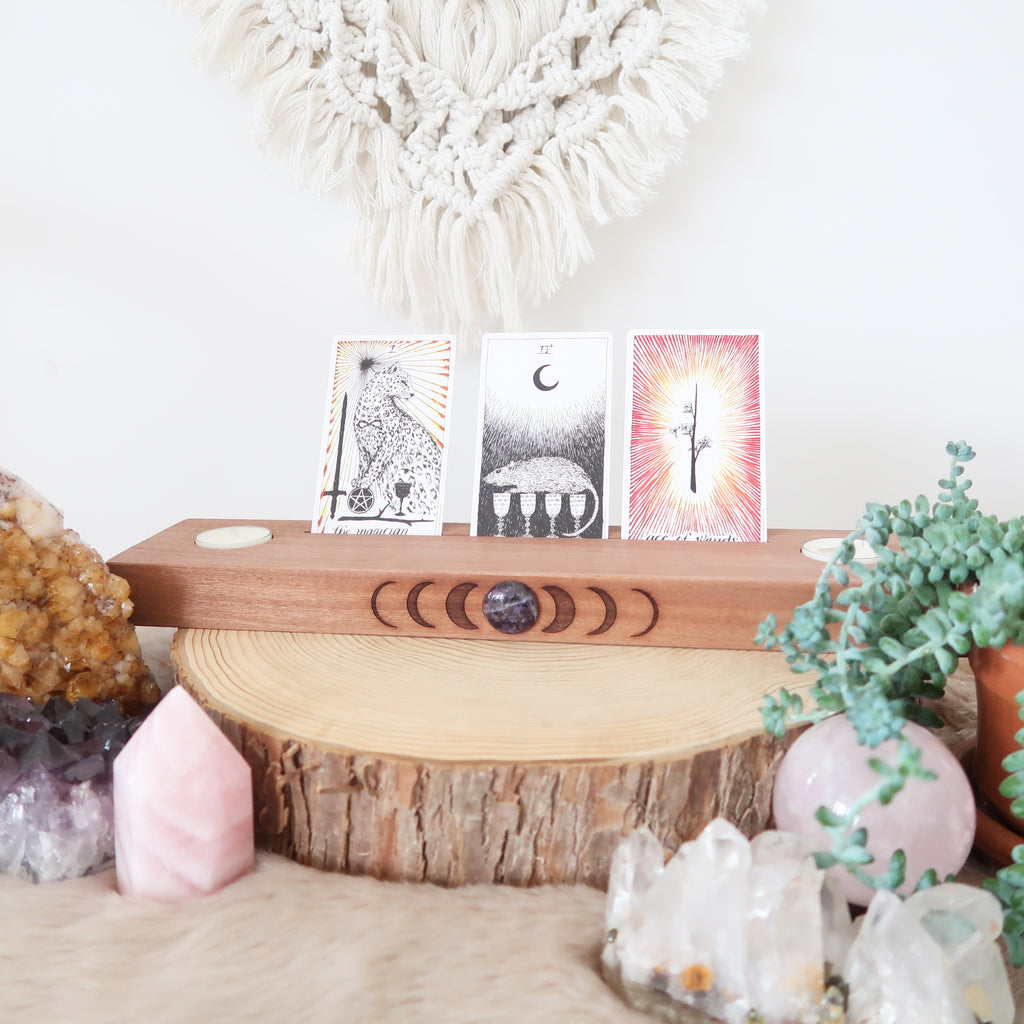 Amethyst Engraved Moonphase Altar Card Stand with Soy Candles - coppermoonboutique