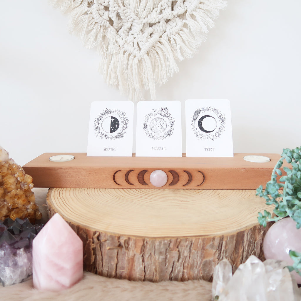 Rose Quartz Engraved Moonphase Altar Card Stand with Soy Candles - coppermoonboutique
