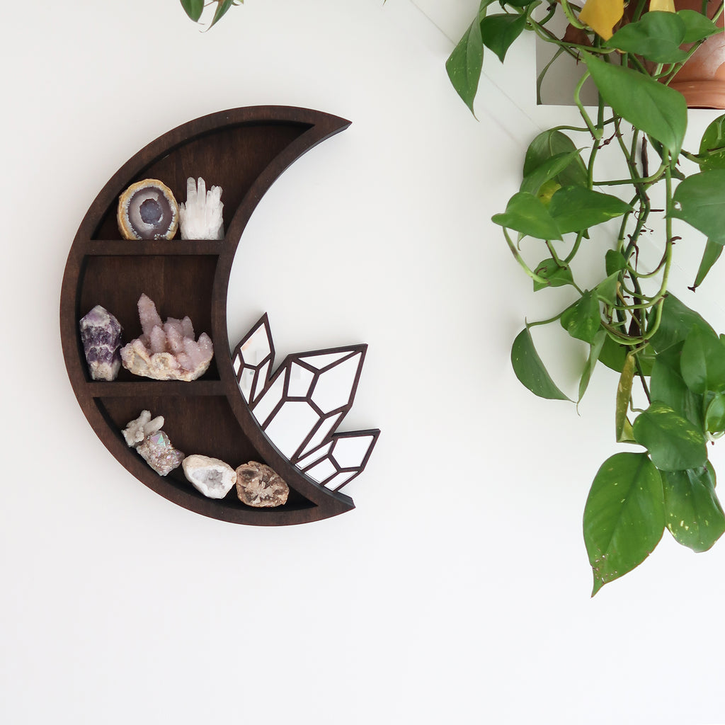 Moon and Crystal Cluster Mirror Shelf - coppermoonboutique
