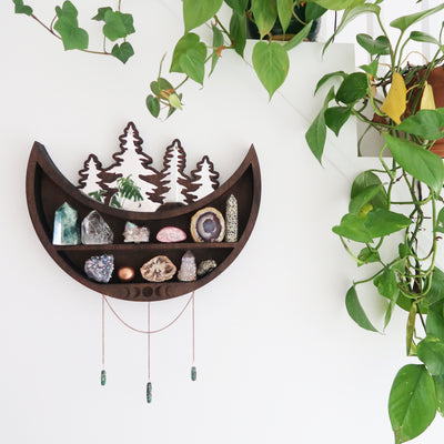 Moon and Forest Cluster Moonphase Mirror Shelf - coppermoonboutique