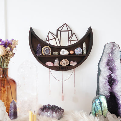 Moon and Crystal Cluster Moonphase Mirror Shelf - coppermoonboutique
