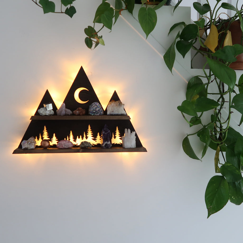 Wilderness Forest Mountain and Moon Wall light shelf - coppermoonboutique