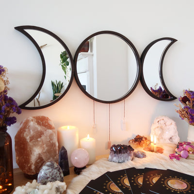 Goddess Triple Moon Crystal Mirror / Coppermoon - coppermoonboutique