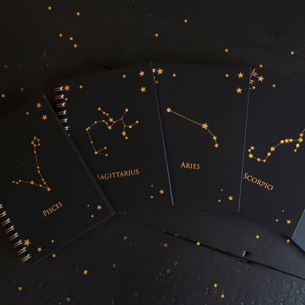 Gold Foil Zodiac Notebook - coppermoonboutique
