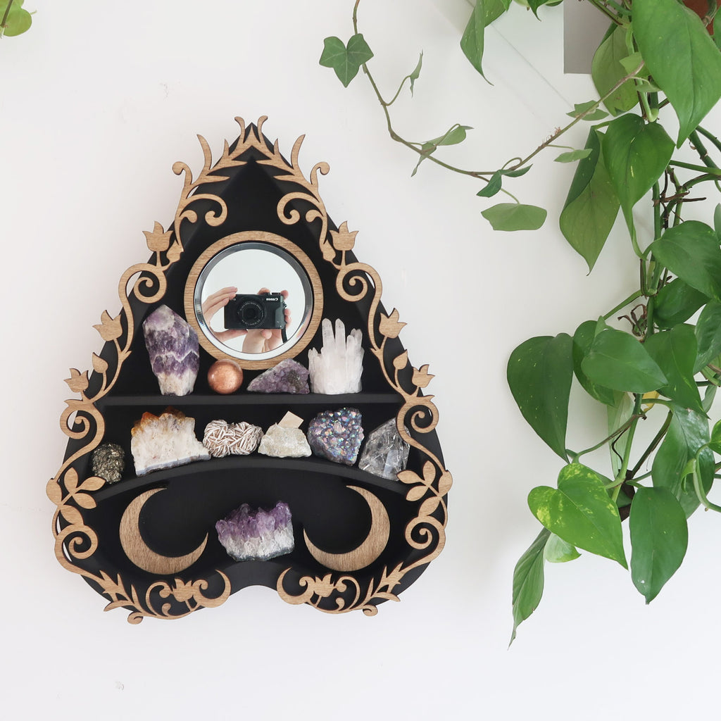 Botanical Ouija Planchette Mirror Crystal Shelf - coppermoonboutique
