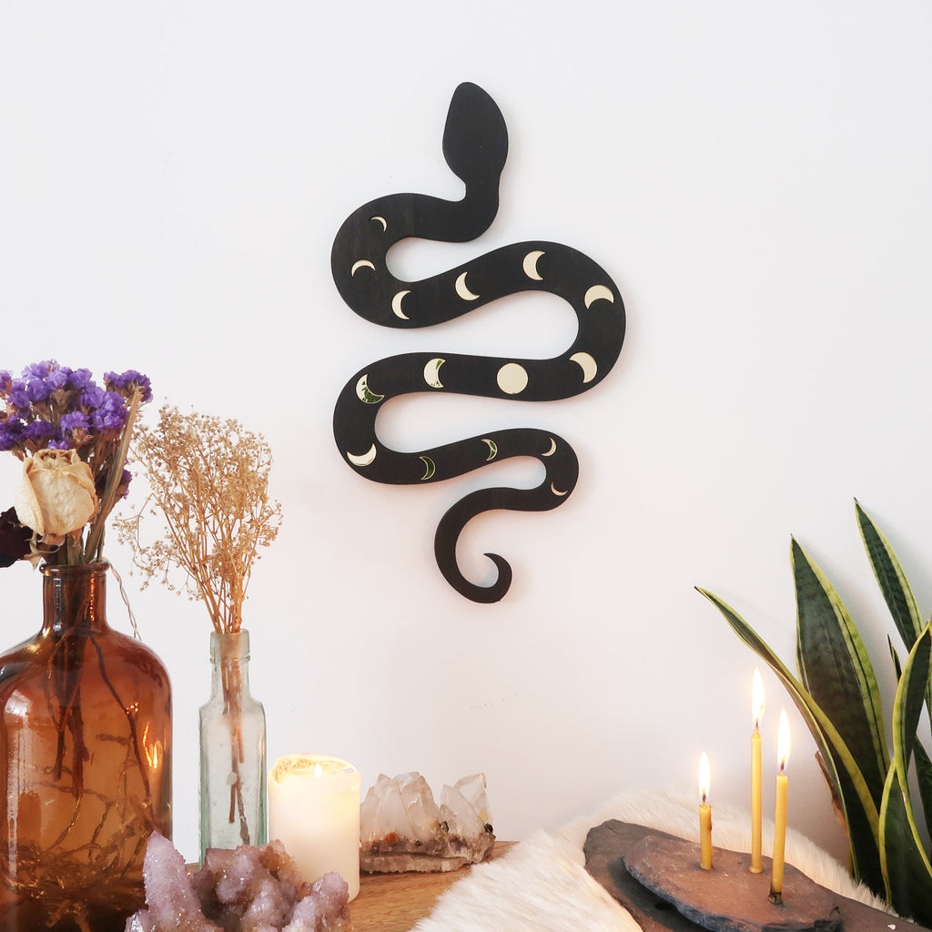 Mirror Moonphase Wooden Snake Art - coppermoonboutique