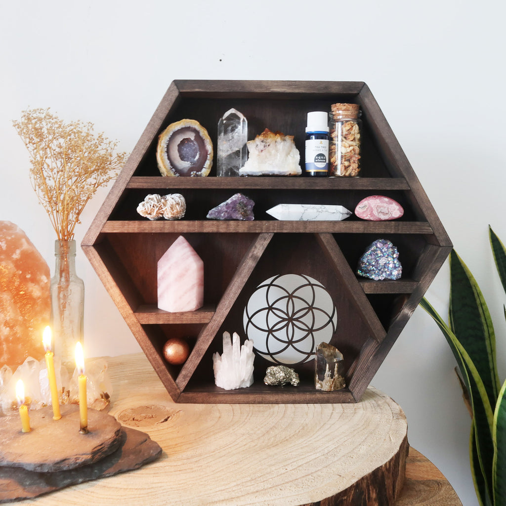 Seed Of Life Wooden Hexagon Crystal Shelf - coppermoonboutique