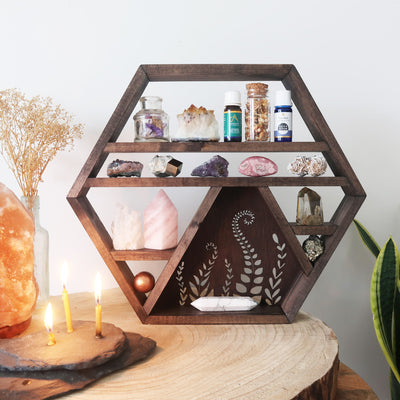Botanical Wooden Crystal Shelf - coppermoonboutique