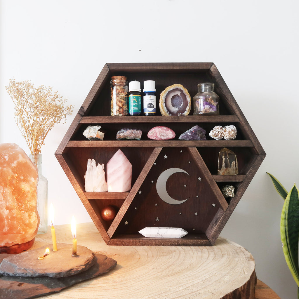 Moon and Stars Wooden Crystal Shelf - coppermoonboutique