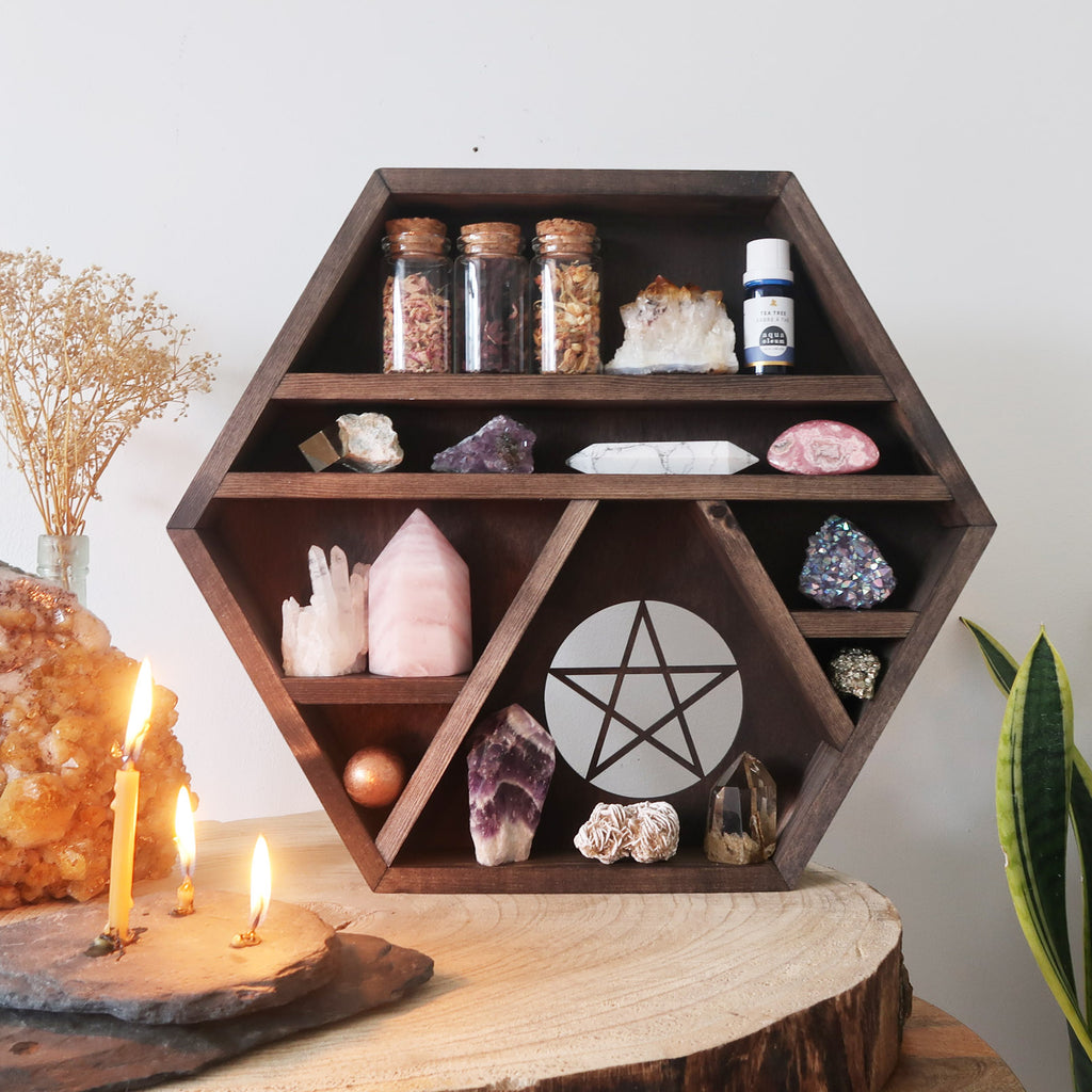 Pentagram Wooden Crystal Shelf - coppermoonboutique