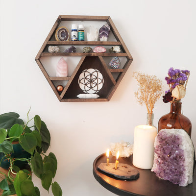 Seed Of Life Wooden Crystal Shelf - coppermoonboutique