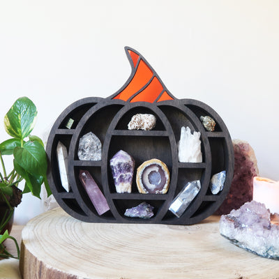 Pumpkin Mirrored Crystal Shelf - coppermoonboutique