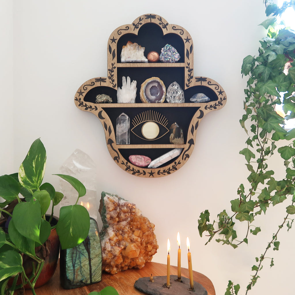 Hamsa Hand Crystal Shelf - coppermoonboutique