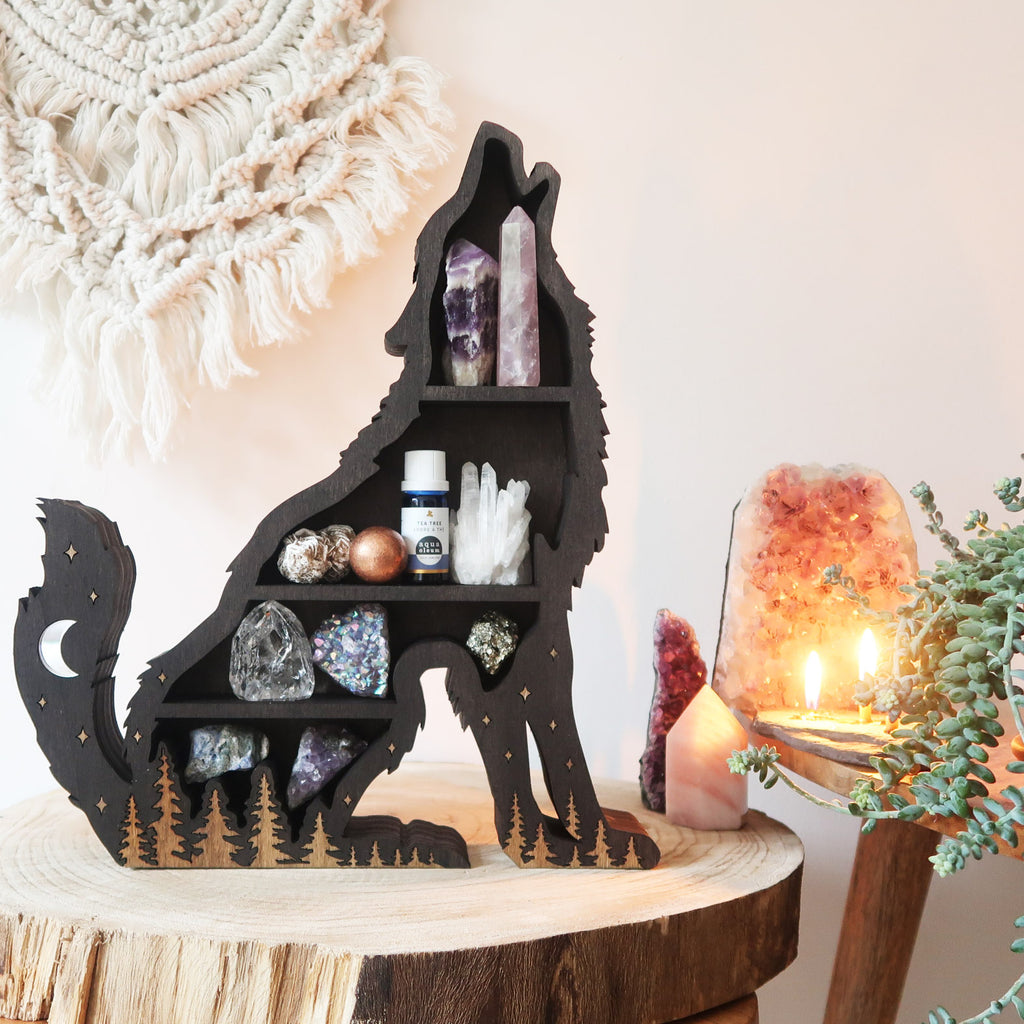 Brown Mama Wolf Wooden Shelf - coppermoonboutique