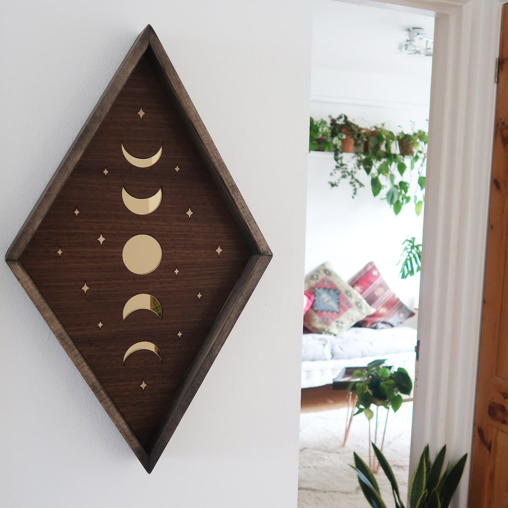 Mirror Moonphase Diamond Wooden Wall Art