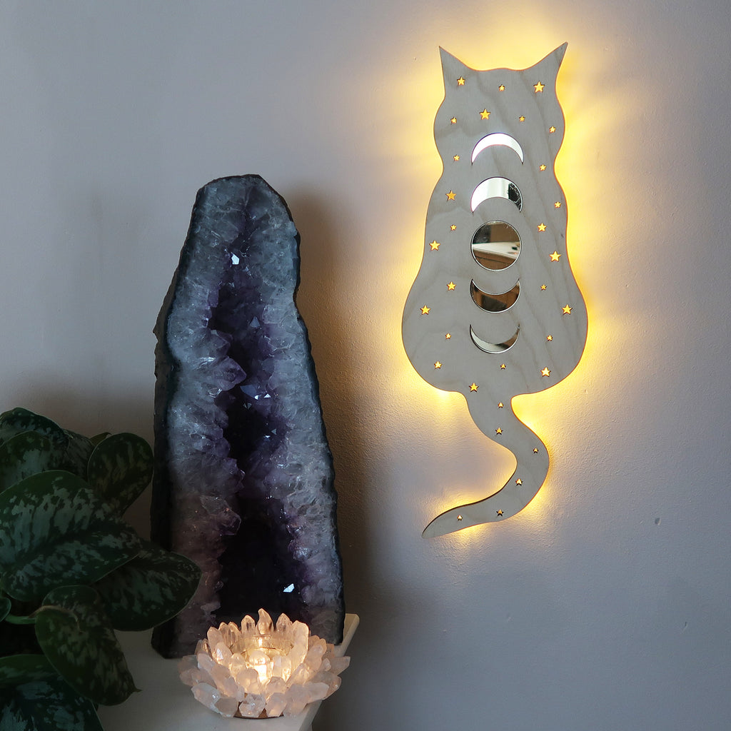 Light Wood Cosmic Kitty Mirrored Wall Lamp - coppermoonboutique