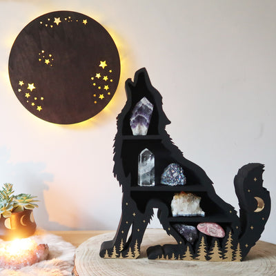 Black Papa Wolf Wooden Shelf - coppermoonboutique